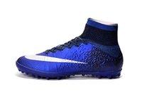 achat en gros de indoor soccer shoes-2016 Mercurial Superfly CR7 TF football Bottes 100% chaussures pour hommes d'origine Chaussures de football SOCCER taquets Hommes Soccer intérieur Chaussures Livraison gratuite