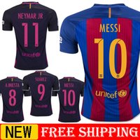 Wholesale 2016 new messi neymar jr Jordi Alba Ivan Rakitic Xavi Iniesta Suarez jersey shirt