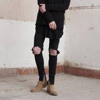 Wholesale teen fashion kanye jean motorcycle black rock star knee holes destroyed skinny ankle zipper denim jeans men