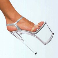 stripper shoes - Transparent crystal sandals article inches wedding shoes back cushion stripper performance of shoes cm