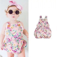 Wholesale 2016 Baby boutique Ruffled romper Infant vintage Flower Jumpsuits Girl one piece romper Summer toddle clothes Size70