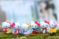 Wholesale 6pcs Cute Cartoon Hello Kitty Dollhouse Decor Fairy Garden Miniature Bonsai Mini Figurine Terrarium Gnomes Craft Home Decoration