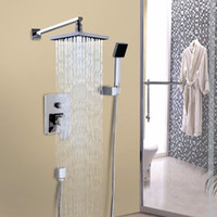 Wholesale Wall Chrome Rainfall Shower Head Arm Control Valve Handspray Faucet Set