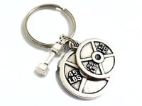 barbell weight lifting - 12pcs Weight Lifting Keychain Barbell Key Chain Weight Plate Charm Keychain Personal Trainer Gifts