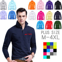 army logo shirts - Brand Designer Polo Shirts For Men Embroidery Small Horse Logo USA American Flag Long Sleeve Polos Shirts lapel Shirt Mens Plus Size XXXXL