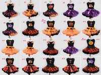 baby witch - New children Halloween TUTU dress vest skirt set pumpkin Skull Witch baby dress bow lace infant dress outfits styles C1006