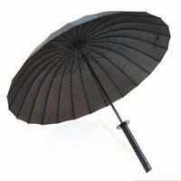 Wholesale Creative Windproof Waterproof Japanese Samurai Ninja Katana Umbrella Sun Rain Golf Umbrellas Black with Sliver Black Handle