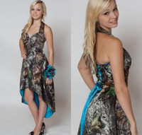 Cheap Custom Made High Low Blue Camo Bridesmaid Dresses 2016 Hot Sale Bride Maid of Honor Dress with Corset Lace-up Back
