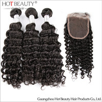Wholesale Peruvian Curly Virgin Hair Lace Top Closure With Hair Weave Bundles Unprocessed Human Hair Extension