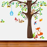 Wholesale Freeshipping Big Roommates Fox Tree Peel Stick Wall Decal Kindergarten Animal Forest Wall Sticker set