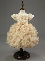 Wholesale Princess girls champagne bowknot child bitter fleabane bitter fleabane skirt embroider flower girl dress dress skirt