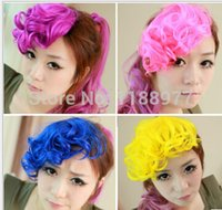 Wholesale Woman Colorful Wavy Curly Bangs Fringe Hair Clip in Hair Extension