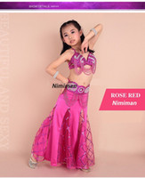 belly dancing class - 2016 New design Children belly dance costume set Indian high class kids bellydance wear bra belt skirt on sale