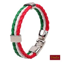 bar memorial - Sports memorial bracelets amp bangles jewelry Italy flag three color woven leather bracelet men women jewelry gift