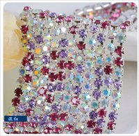 clothing chain - 50yard Roll SS8 SS10 SS12 Clear Crystal AB strass trim Gold Silver Metal Base Rhinestone Cup Chain Sew on Rhinestone For Clothes hight
