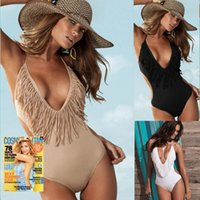 bathing suit models - 2017 explosion models Swimwear Hot Sexy woman V neck Bathing suit piece Swimsuit hot Springs Bikini NEW Tassel Swimsuit Tassel swimsuit Hig