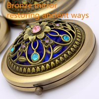 advertising mirrors - Bronze Hollow Oout Advertising Gifts Metal Mirror Double Fold Cosmetic Mirror Compact Mirrors Fashion Makeup Tools