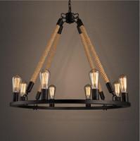 american lighting led rope light - Retro Hemp Rope Chandelier Loft Style Lights American Country Vintage Wrought Iron Light Loft Restaurant Light
