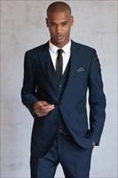 Wholesale 2016 Blue Wedding Suits For Men Pieces Men Suits Men Tuxedos Peaked Lapel Groomsmen Suits Grooms Wedding Suit Jacket Pants Vest Tie