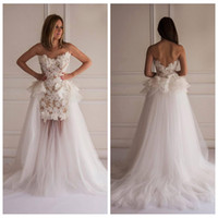 vogue wedding dress - 2016 Vogue Lace Full Appliques Mermaid Wedding Dresses Tulle Skirt Handmade Flowers With Detachable Train Bridal Gowns Custom Plus Size
