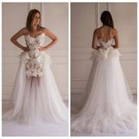 autumn vogue - 2016 Vogue Lace Full Appliques Mermaid Wedding Dresses Tulle Skirt Handmade Flowers With Detachable Train Bridal Gowns Custom Plus Size