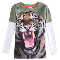 Wholesale 2016 boys T shirt autumn spring children cotton pattern ferocious Tiger cool long sleeved fashion Novelty T shirt boy tide