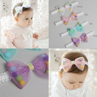 bebe hair - Newborn Baby Girls Lace Bow Headbands Babies Princess Stretchy Hairbands Bebe Colorful Balls Christmas Hair Accessories