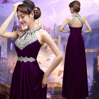 Wholesale New Arrival Sexy A Line Halter Taffeta Beaded Long Evening Dress Evening Party Dresses Sleeveless Lace Up Prom Evening Gowns