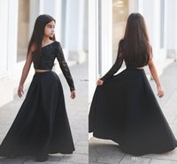 balck dress - 2016 Fashion Show Two Pieces Toddler Girls Pageant Dresses Newest One Sleeves Balck Beads Floor length Zipper Back Pageant Dresses for Girls