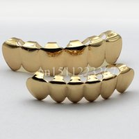 Wholesale REAL SHINY REAL GOLD PLATED HIPHOP TEETH GRILLZ TOP amp BOTTOM GRILL SET