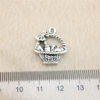 antique silver baskets - 30Pcs mm antique Silver Tonegift basket Charms Zinc Alloy DIY Handmade Jewelry Pendants