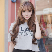 Wholesale 2016 Brand New Women Trendy Fashion Thin Bangs Long Fluffy Deep Wave Wigs Korean Style Girls Full Hairs With Cap quot