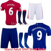 Wholesale Football Sets Suit Manchester Jersey Kits Rashford MARTIAL IBRAHIMOVIC Rooney Home Away Pogba Soccer Jerseys Shirts Uniform