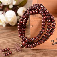 Cheap 2016 Hot sales 108*6mm Natural Sandalwood Buddhist Buddha Meditation 108 beads Wood Prayer Bead Mala Bracelet Women Men jewelry