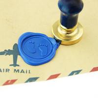 baby shower stamps - Baby footprints Wax Seal Stamp brass stamp baby shower invitation logo