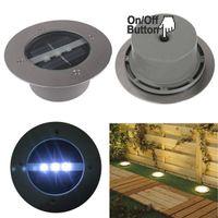 Wholesale 3 LED Path Way Garden Under Ground Light Decking Bulbs Outdoor Solar Power Light Buried Lamp Yard Light