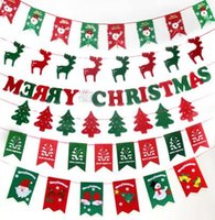 Wholesale Christmas Flags Party Supplies colorful Banner Christmas Home Decor flags rope or rope Santa Claus Snow man Xmas flag