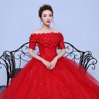 Wholesale Half Sleeve New Design Korean Style Romantic Lace Red Wedding Dress One Word Ball Gown Bridal Dress Stock Brid Dress