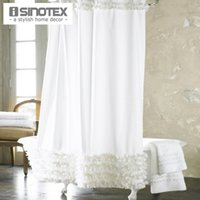 Wholesale Home Decoration Bathroom Shower Curtain Waterproof Moldproof Solid Polyester Fabric Lace Bath Curtain Elegant Cortina Hooks