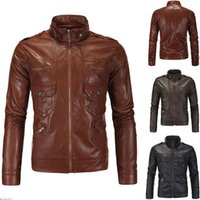Wholesale 2016 Men s Motorcycle Biker Jacket Stylish British PUNK Style PU Leather Zipper Stand Collar Mens Outwear Slim Coat Y102