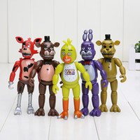Wholesale 5pcs set FNAF Five Nights At Freddy s PVC Action Figure Toy Foxy Gold Freddy Chica Freddy LED Lights