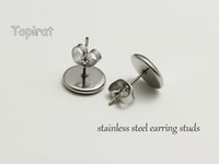 base studs - 100pcs pairs Stainless Steel Earring Studs Earrings Blank Base Buttons Bezel Setting Tray for Cameo Cabochons