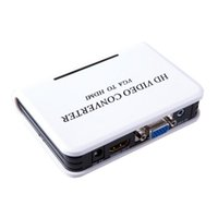 Wholesale P Audio VGA to HDMI HD HDTV Video Converter Box Adapter for PC Laptop DVD US UK EU AU
