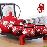 Wholesale Hot sale Endulge japanese style ceramic kungfu tea set red wedding gift tea set wedding gift self use tea set with tea tray