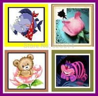 baby cat pictures - WHOLE SALE THE Cheshire CAT PINK ROSE FISH WARRIER BABY BEAR home deco D DIY DIAMOND PAINTING gift for child