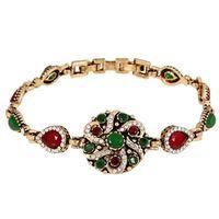 big diamond jewelry - New Europe and America Big Brand Volk Retro Style Jewelry Diamond Bracelet Mit Resin Flower Female Personality Accessories
