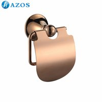 Wholesale AZOS Wall Mounted Toilet Paper Holders Nickel Brush Finish Rose Golden Color Toilet Accessories Bathroom Shower Hardware Components GJQC2505