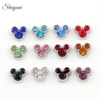 Wholesale Silver Plated Charms Mix Colors Minie Mouse Floating Lockets Charms for Bracelet DIY Jewelry Charms for Bracelet Locket Necklaces