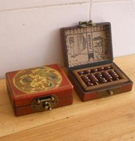 Wholesale cheap Exquisite ethnic Old Small Abacus with Rosewood Leather Box Free Shiping
