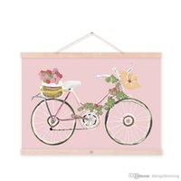 Digital printing bicycle spray paint - Mild Art Original Flowers Bicycle Handpainted Bike Pink Vintage Retro Rose Girly Posters Prints Bedroom Home Wall Decor Gift Canvas Painting